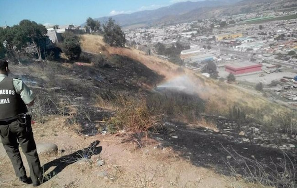 Incendio en la ladera del cerro amenazó con extenderse a viviendas