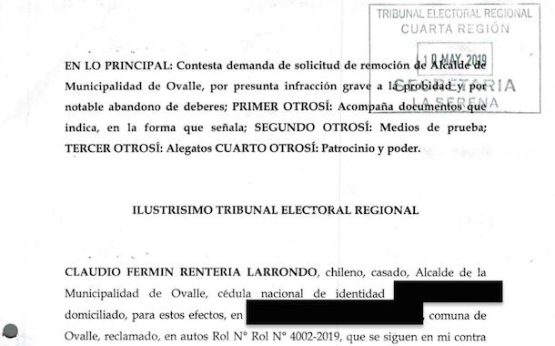 Alcalde de Ovalle respondió al requerimiento por destitución ante el Tribunal Electoral Regional