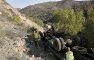 Fallece conductor de Tracto camión que volcó en la ruta a Andacollo